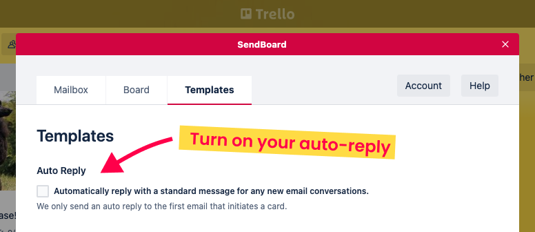 How to turn on auto reply emails in Trello