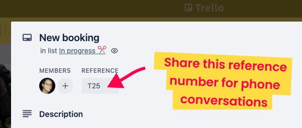 Share the reference number for a Trello card